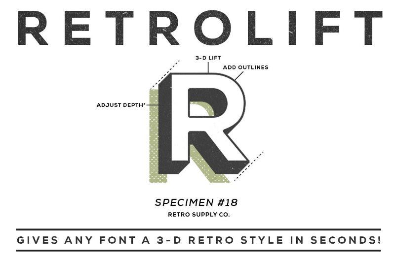 RetroLift 3D Photoshop Action