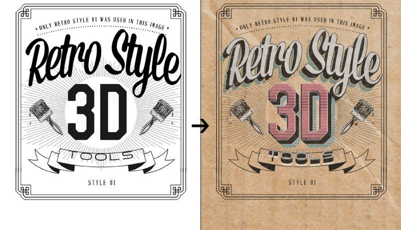 Retro Style 3D Tools Photoshop Actions