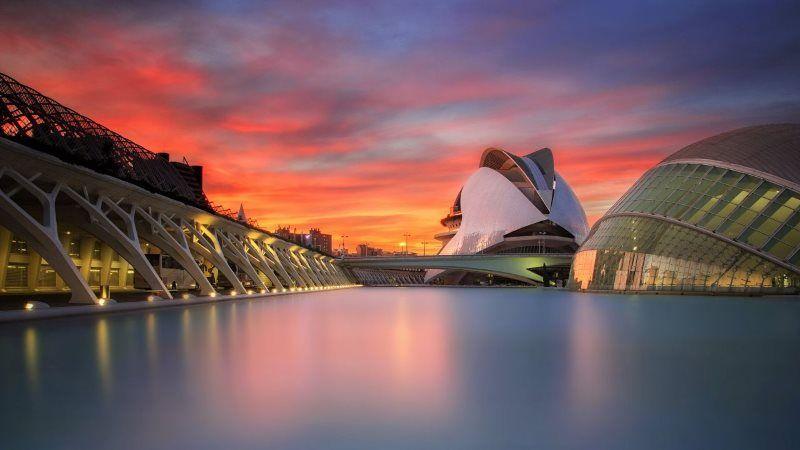 Valencia City Spain Sunset 4K Wallpaper