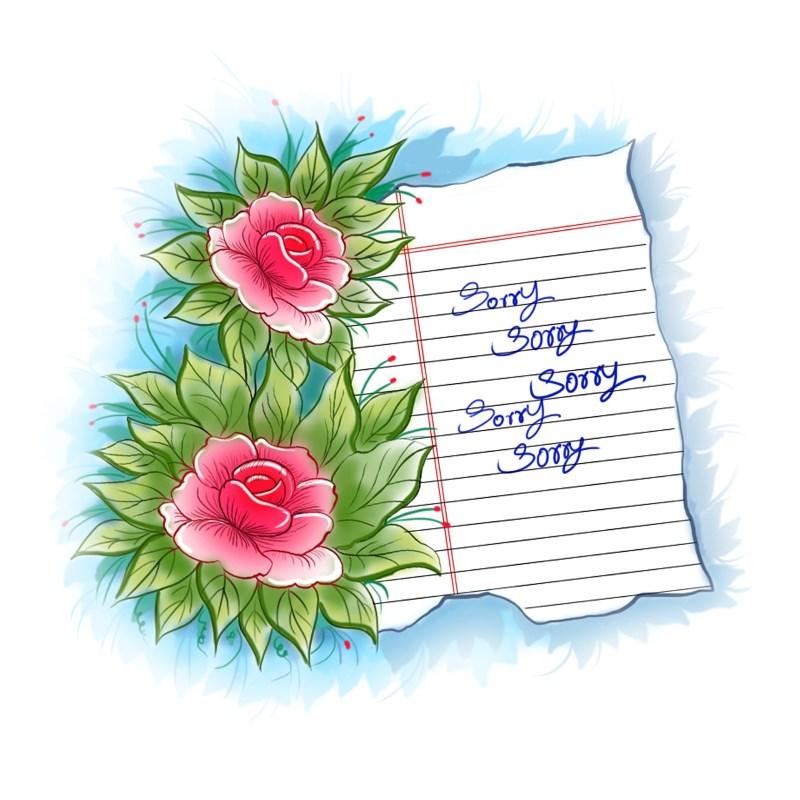 Flower Design Sorry Greeting Card