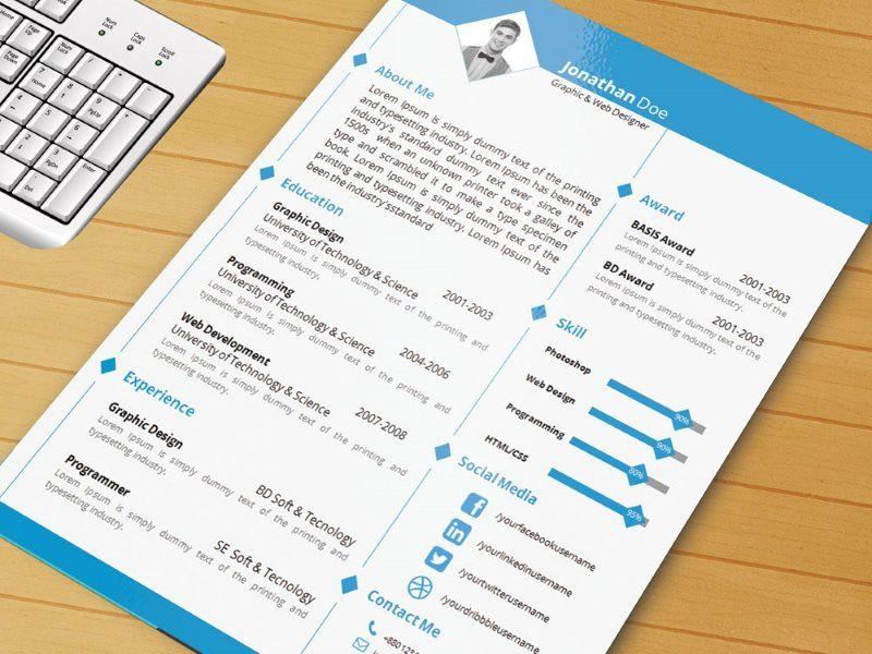 Free Clean Word Resume Template for Job Seeker