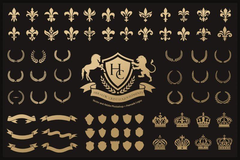 Heraldic Crest Logos Elements Set