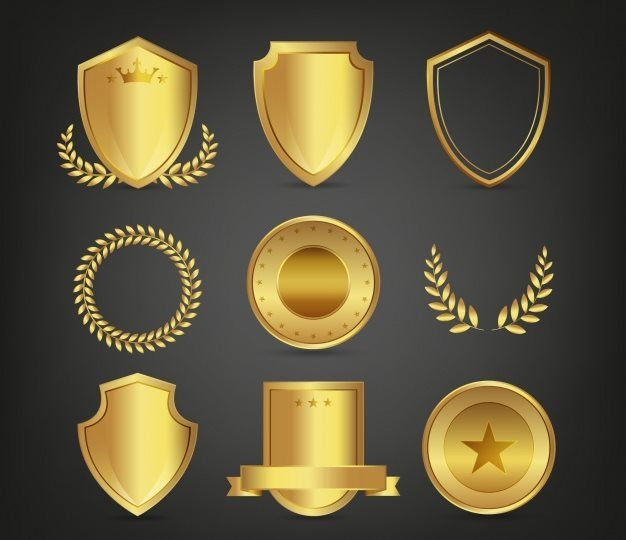 Set of Golden Shields and Laurel Wreaths