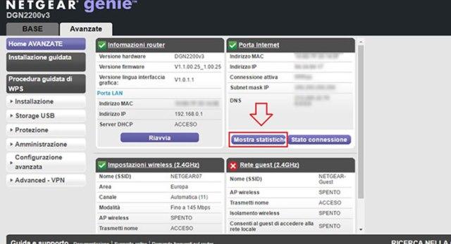 Verificare la qualità ADSL: entrare nelle impostazioni avanzate