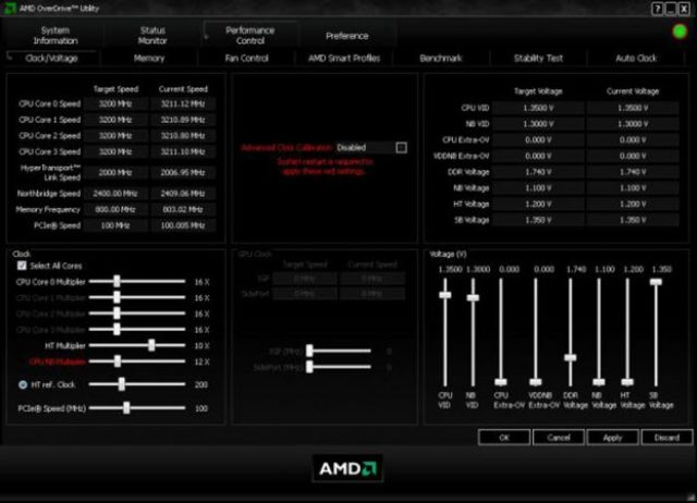 Oveerlock delle frequenze in AMD OverDrive