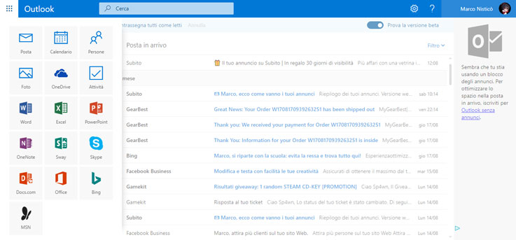 Applicazioni di Outlook Beta