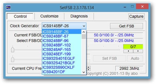 Schermata iniziale di SetFSB