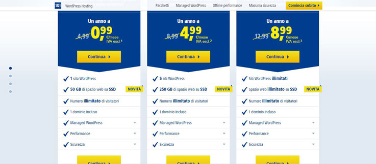 1&1 abbonamenti hosting web con WordPress