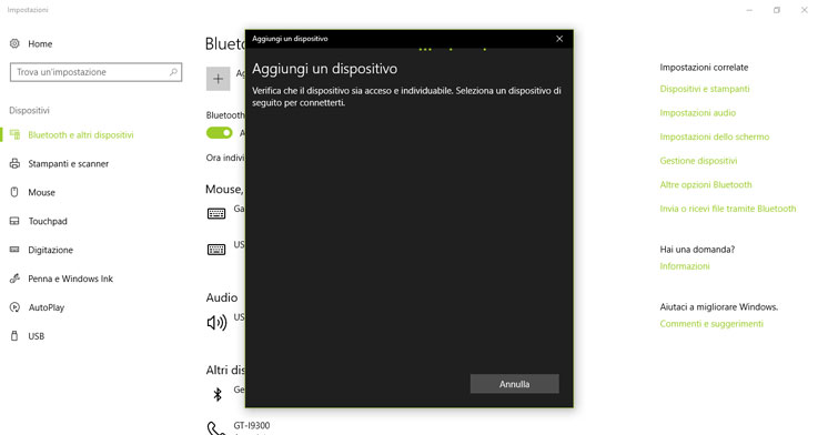 Associare un dispositivo Bluetooth su Windows 10
