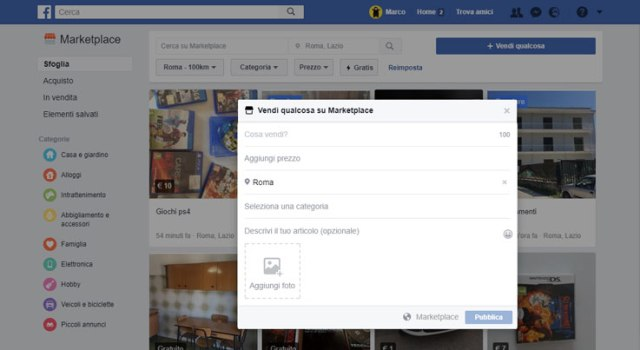 Schermata di vendita del Facebook Marketplace