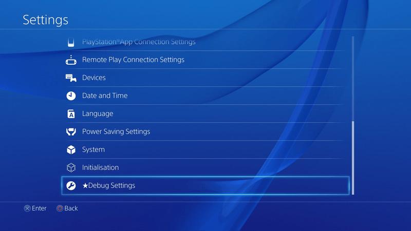 Debug Settings su PS4