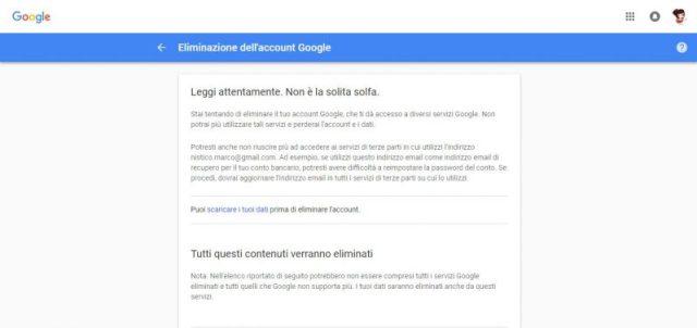 Fase di eliminazione dell'account Google