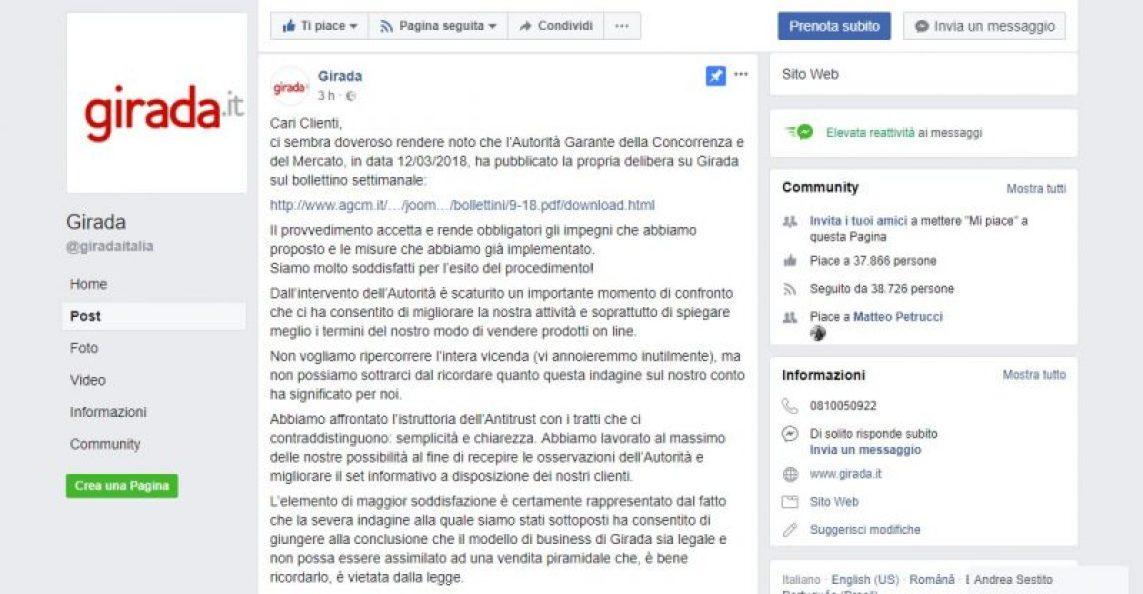 Post Facebook di Girada.it