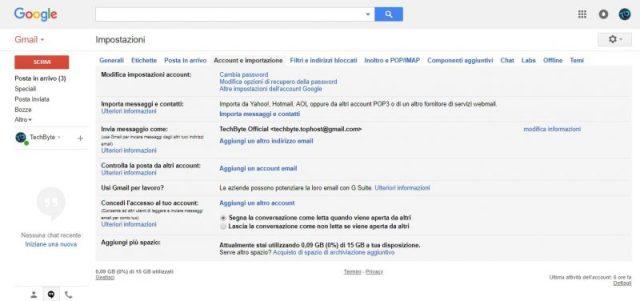 Impostazioni account Gmail