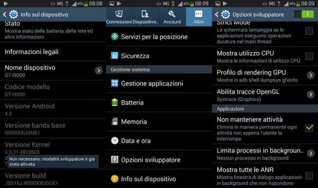 Opzioni sviluppatore su Android