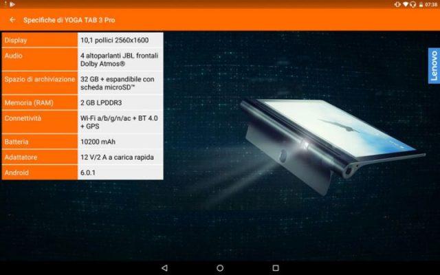 Specifiche tecniche di Lenovo Yoga Tab 3 Pro