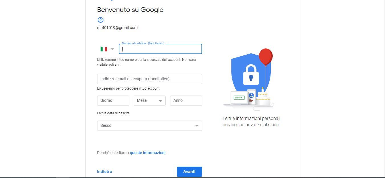 Come creare un nuovo account Gmail 2