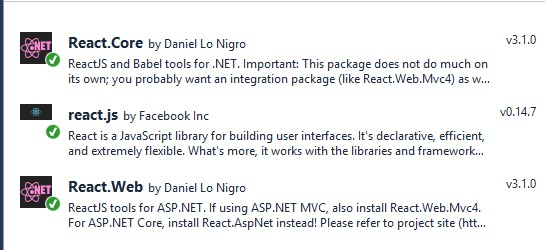 ReactJS Nuget Packages