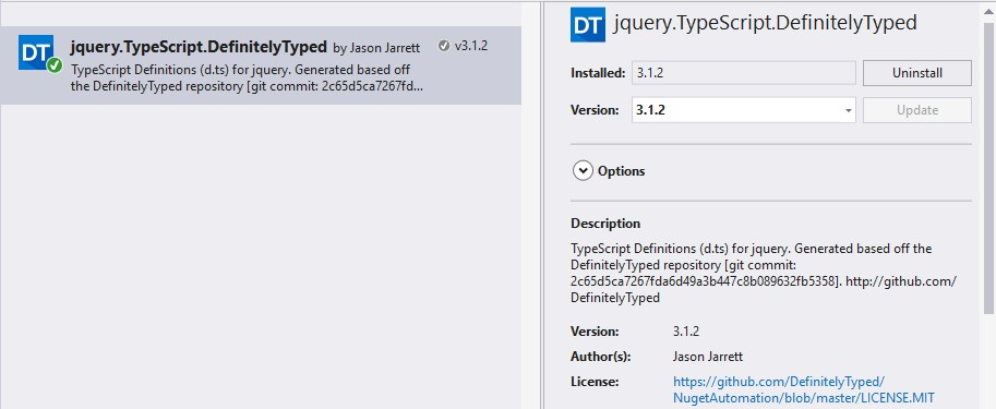 jquery.TypeScript.DefinitelyTyped Nuget Package