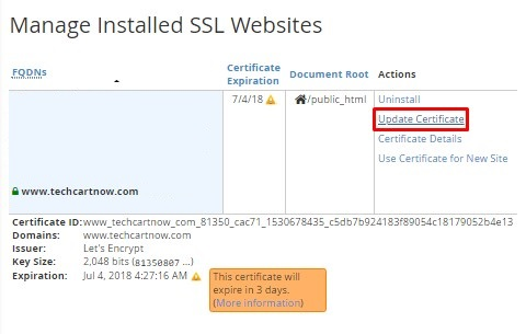 Renewing Free Ssl Certificate On Your Site Lets Encrypts Free Ssl