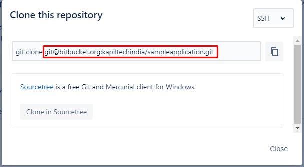Bitbucket SSH Repository Clone Url