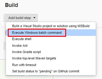 Build - Execute Windows batch command
