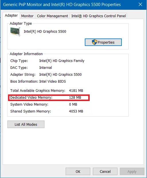 dedicated video memory size