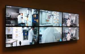 This was a video wall built from six Chief adjustable mounts