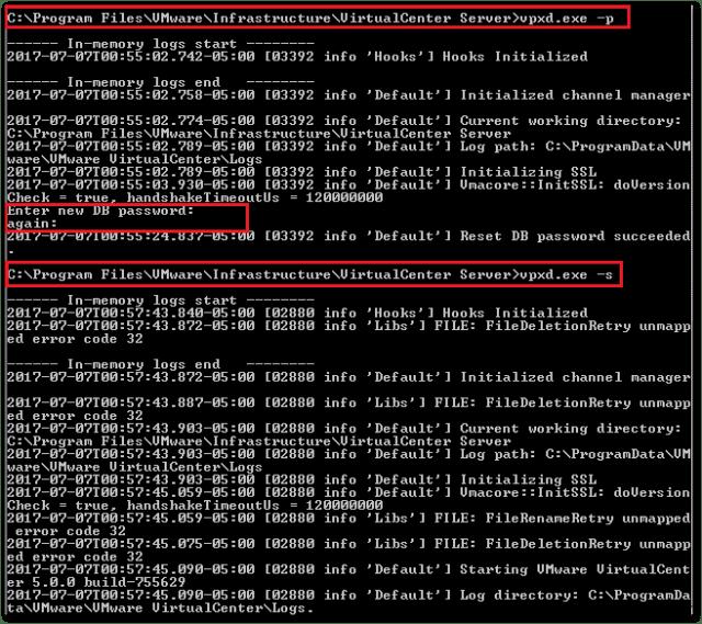 change the vCenter Database : vpxd -s