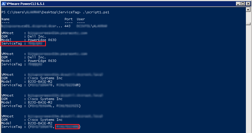Serial Numbers using PowerCLI : Output