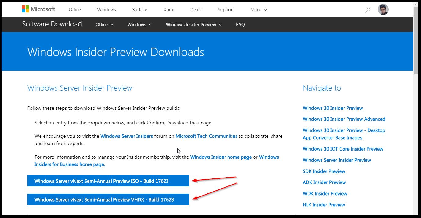 Windows Server 2019 Insider Download Page