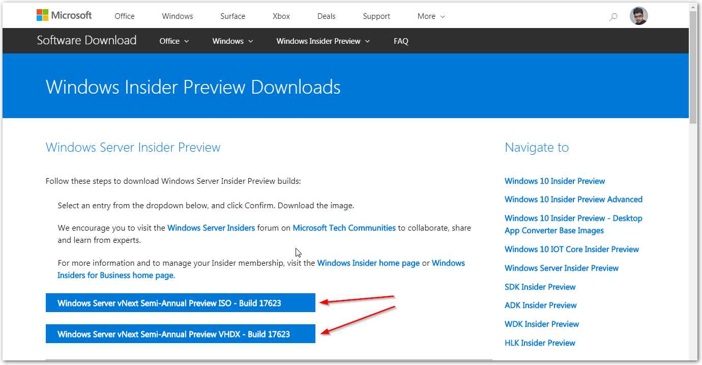 Windows Server 2019 Insider Download Page