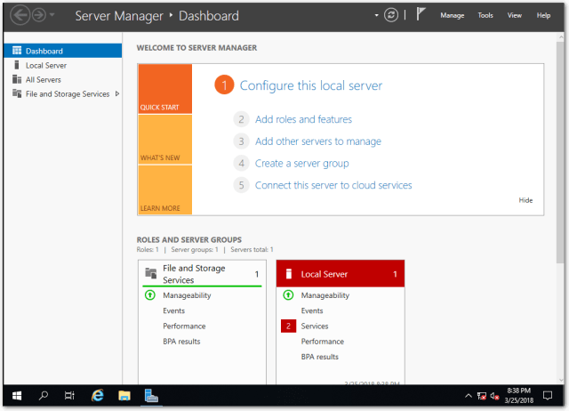 Windows Server 2019 Server Manager