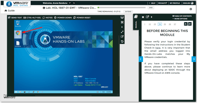 VMware Cloud on AWS : Open Chrome