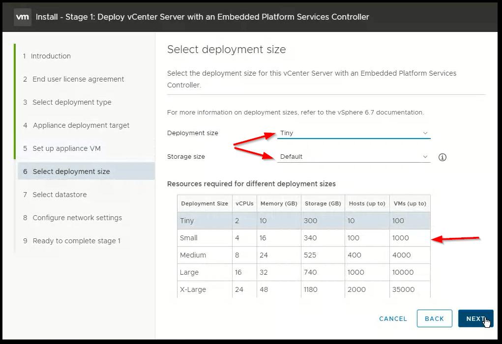 vCenter Server 6.7 : Deployment Size