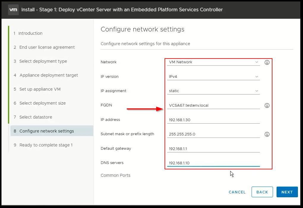 vCenter Server 6.7 : Network