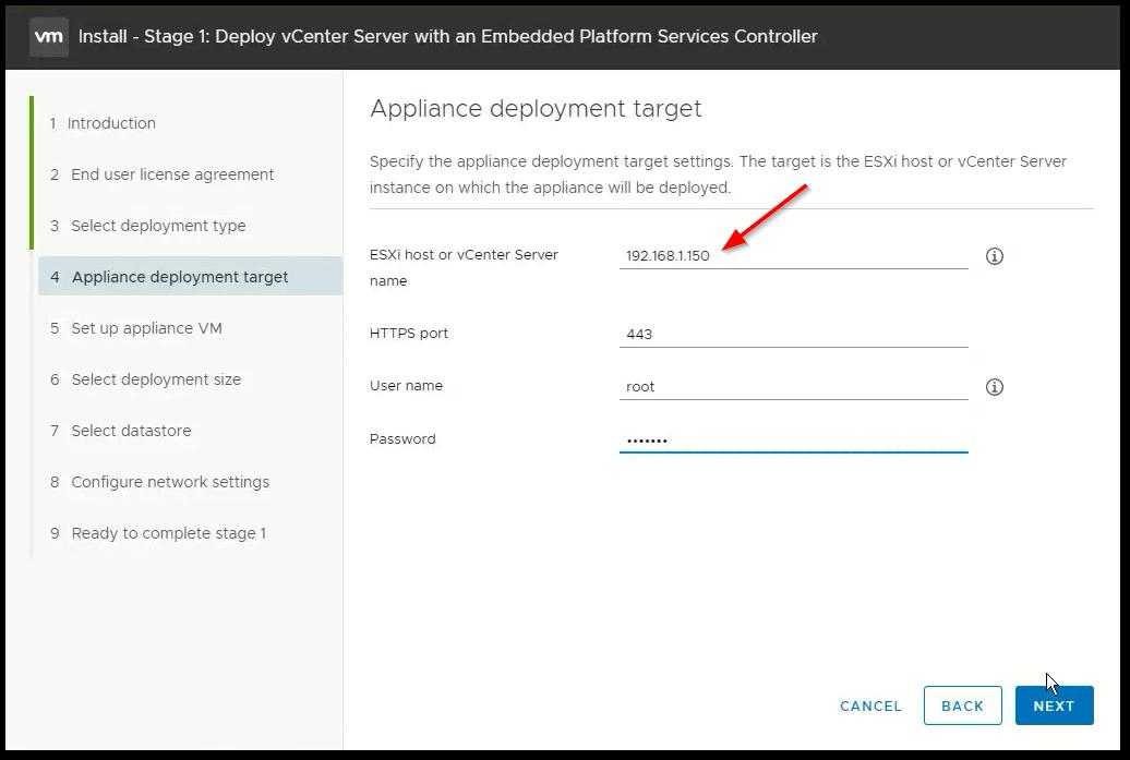 vCenter Server 6.7 : Target Select