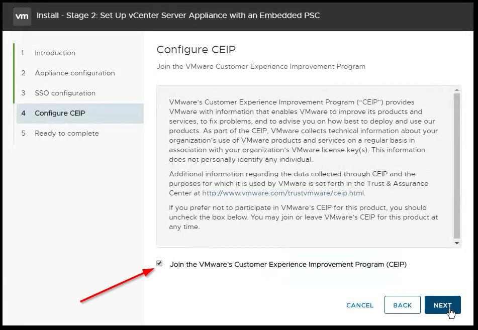 vCenter Server 6.7 : CEIP