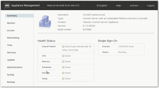 vCenter Server 6.7 : VAMI Summary