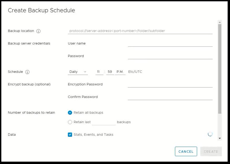 vCenter Server 6.7 : Backup Schedule
