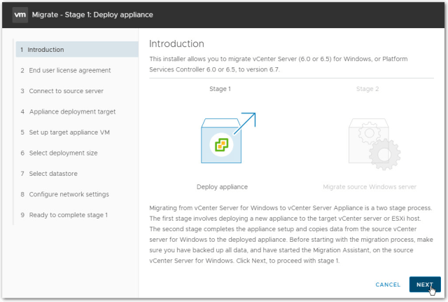 Migrate Windows Based vCenter Server to VCSA 6.7 : Introduction