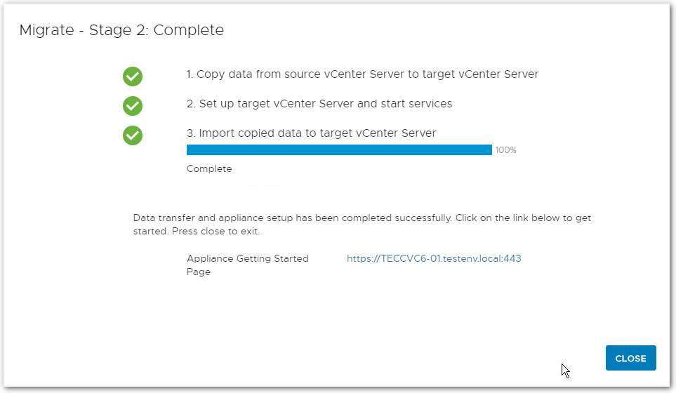 Migrate Windows Based vCenter Server to VCSA 6.7 : Completed
