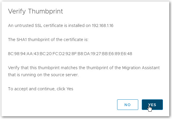 Migrate Windows Based vCenter Server to VCSA 6.7 : Thumbprint