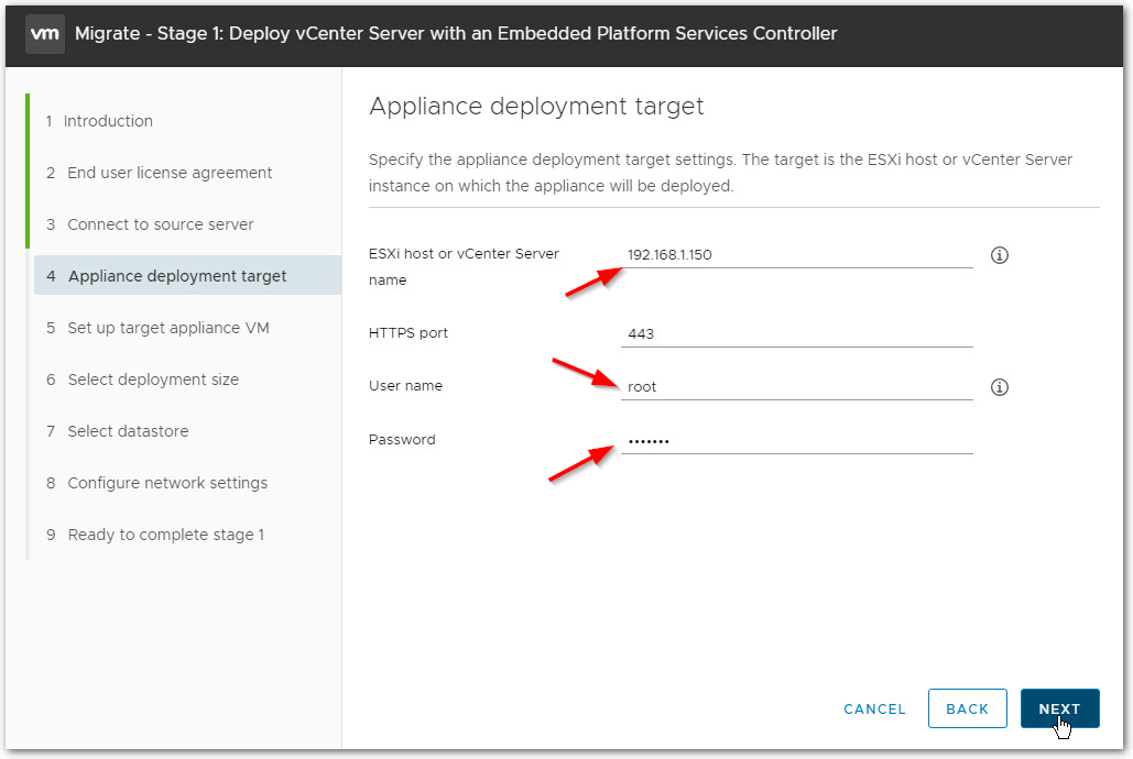 Migrate Windows Based vCenter Server to VCSA 6.7 : Target Host