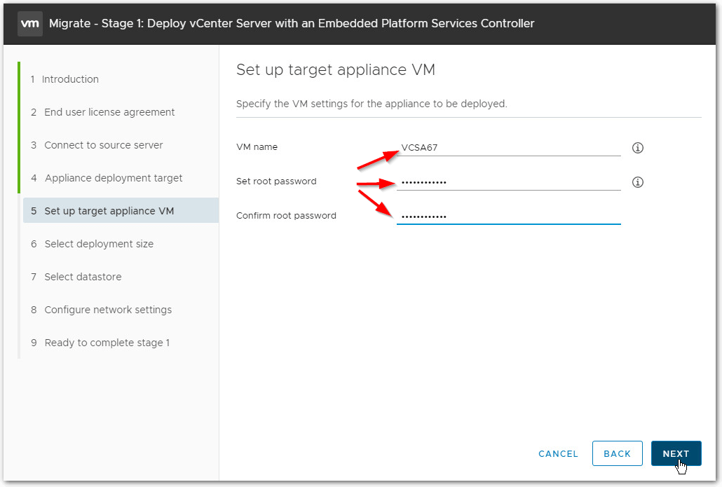 Migrate Windows Based vCenter Server to VCSA 6.7 : VM name and root password