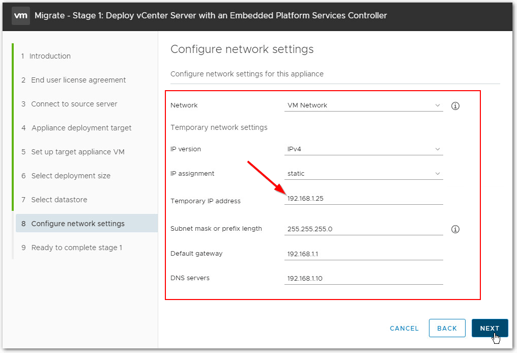 Migrate Windows Based vCenter Server to VCSA 6.7 : temp IP