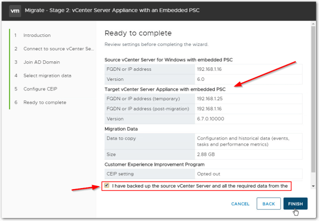 Migrate Windows Based vCenter Server to VCSA 6.7 : Confirm Backup