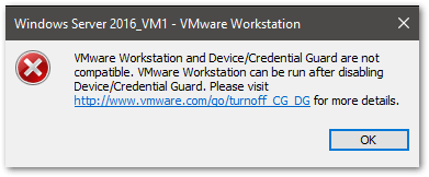 VMware Workstation and Device/Credential Guard are not compatible. : Error message