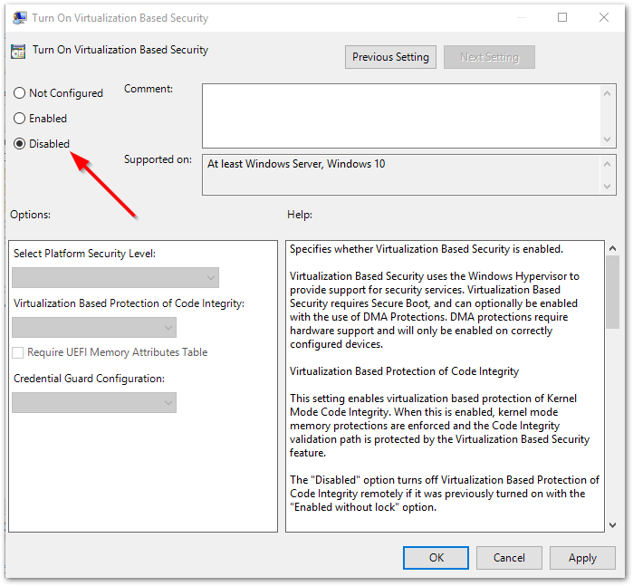 VMware Workstation and Device/Credential Guard are not compatible. : disabled