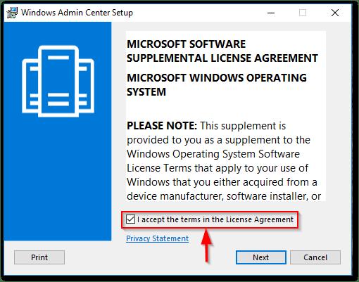 Windows Admin Center : EULA